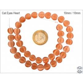 Perles oeil de chat lisses - Coeurs/10 mm - Orange