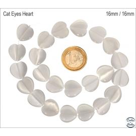 Perles Œil de Chat Lisses - Coeur/16 mm - Blanc