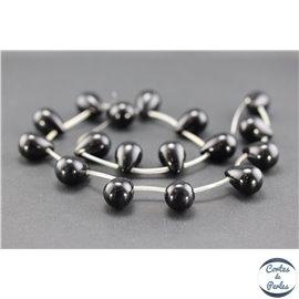 Perles semi précieuses en agate - Gouttes/17 mm - Noir