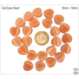 Perles Œil de Chat Lisses - Coeur/16 mm - Orange