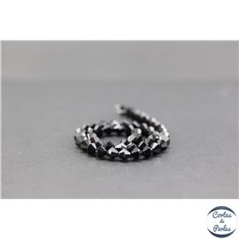 Perles en verre - Toupies/6 mm - Noir brillant