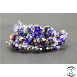 Perles millefiori en verre - Disques/12 mm - Bleu nuit
