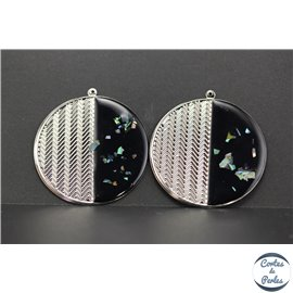Lot de 4 pendentifs en métal et émail - Disques/50 mm - Noir brillant