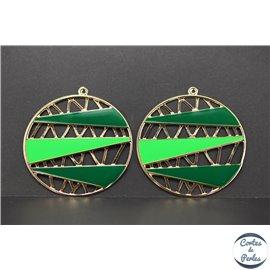 Lot de 4 pendentifs en métal et émail - Disques/60 mm - Vert