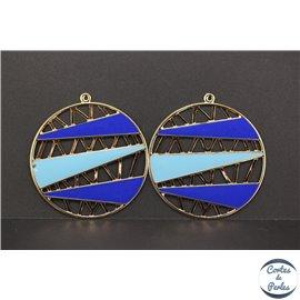 Lot de 4 pendentifs en métal et émail - Disques/60 mm - Bleu