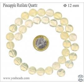 Perles semi précieuses en quartz ananas - Ronde/12 mm - Jaune