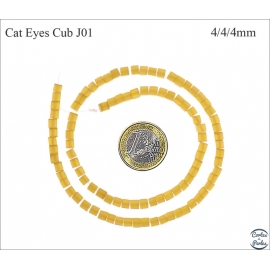Perles oeil de chat lisses - Cubes/4 mm - Miel