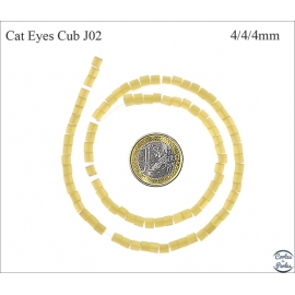 Perles oeil de chat lisses - Cubes/4 mm - Miel clair