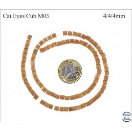 Perles oeil de chat lisses - Cubes/4 mm - Marron