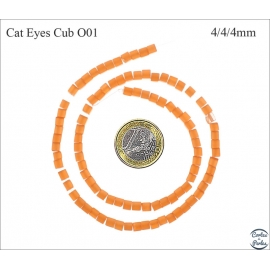 Perles oeil de chat lisses - Cubes/4 mm - Orange