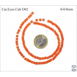 Perles oeil de chat lisses - Cubes/4 mm - Orange foncé