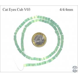 Perles oeil de chat lisses - Cubes/4 mm - Vert lagon