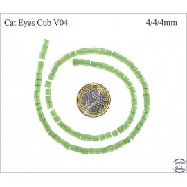 Perles oeil de chat lisses - Cubes/4 mm - Water green