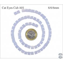 Perles oeil de chat lisses - Cubes/6 mm - Lavande clair