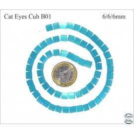 Perles oeil de chat lisses - Cubes/6 mm - Turquoise