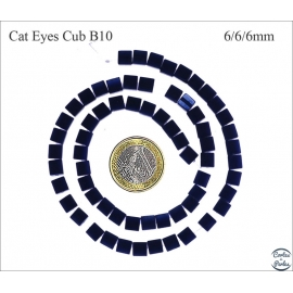 Perles oeil de chat lisses - Cubes/6 mm - Dark blue