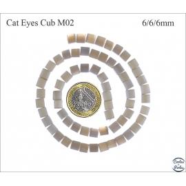 Perles oeil de chat lisses - Cubes/6 mm - Gris smoke