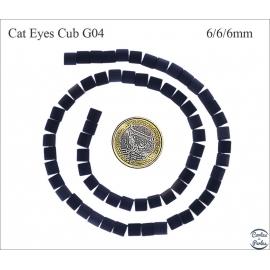Perles oeil de chat lisses - Cubes/6 mm - Noir