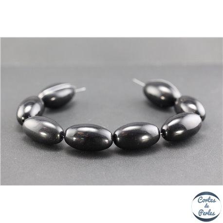 Perles en résine naturelle - Olives/30 mm - Noir