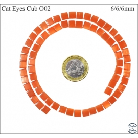 Perles oeil de chat lisses - Cubes/6 mm - Orange