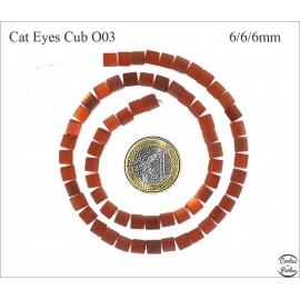 Perles oeil de chat lisses - Cubes/6 mm - Orange foncé