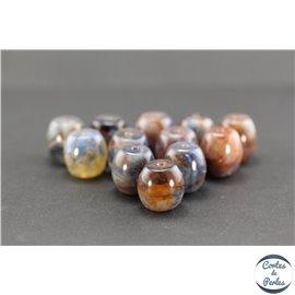 Perles en résine naturelle - Tonneaux/18 mm - Bleu rouge fumé