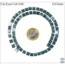 Perles oeil de chat lisses - Cubes/6 mm - Vert profond