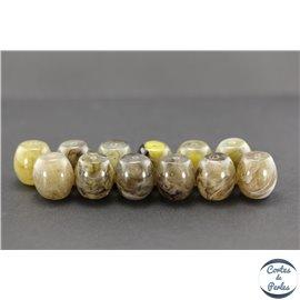 Perles en résine naturelle - Tonneaux/18 mm - Gris cendré