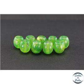 Perles en résine naturelle - Tonneaux/18 mm - Lime green