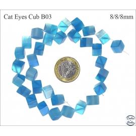 Perles oeil de chat lisses - Cubes/8 mm - Turquoise