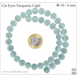 Perles oeil de chat lisses - Disques/10 mm - Turquoise light