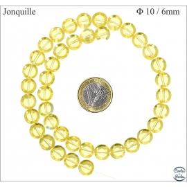 Perles Œil de Chat Lisses - Disque/10 mm - Jonquille