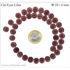 Perles oeil de chat lisses - Disques/10 mm - Lilas