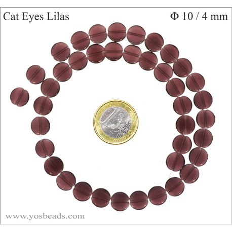 Perles Œil de Chat Lisses - Disque/10 mm - Violet