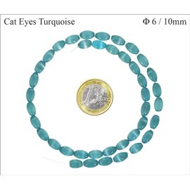 Perles oeil de chat lisses - Olives/6 mm - Turquoise
