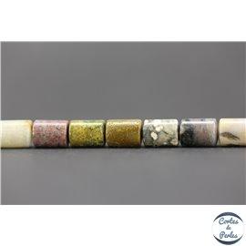 Perles semi précieuses en jaspe - Tubes/8 mm - Ocean stone