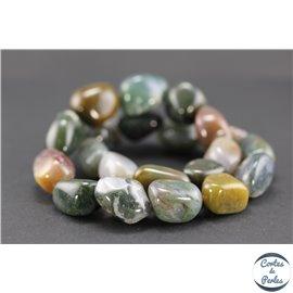 Perles semi précieuses en jaspe - Nuggets/15 mm - Fancy