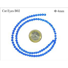 Perles oeil de chat lisses - Rondes/4 mm - Bleu