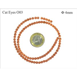 Perles oeil de chat lisses - Rondes/4 mm - Orange
