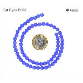 Perles oeil de chat lisses - Rondes/6 mm - Bleu