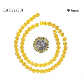Perles oeil de chat lisses - Rondes/6 mm - Jaune canari