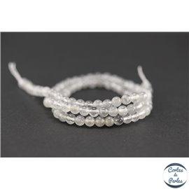 Perles semi précieuses en quartz nuage - Ronde/4 mm - Gris smoke