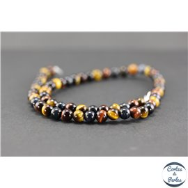 Perles en oeil de tigre multicolore - Rondes/6mm - Grade A