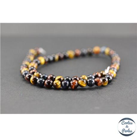 Perles semi précieuses en oeil de tigre - Ronde/6 mm - Multicolore - Grade A