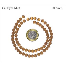 Perles oeil de chat lisses - Rondes/6 mm - Marron