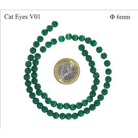 Perles oeil de chat lisses - Rondes/6 mm - Vert