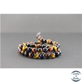 Perles en oeil de tigre multicolore - Rondes/8mm - Grade A