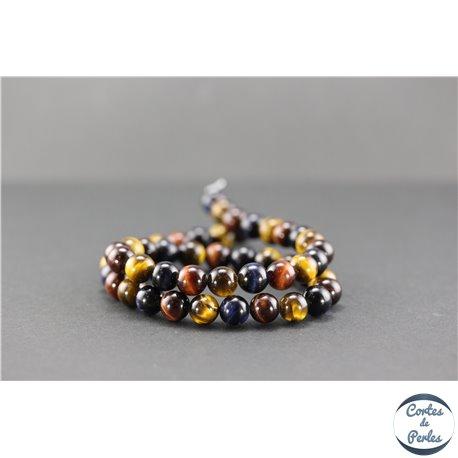 Perles semi précieuses en oeil de tigre - Ronde/8 mm - Multicolore - Grade A