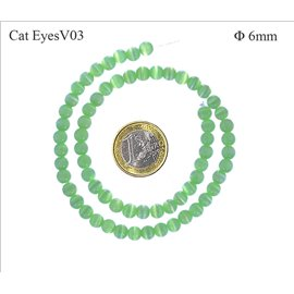 Perles oeil de chat lisses - Rondes/6 mm - Water green