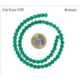 Perles oeil de chat lisses - Rondes/6 mm - Erinite